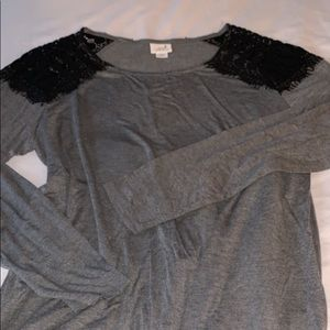 NWOT grey long sleeve tshirt with lace shoulders